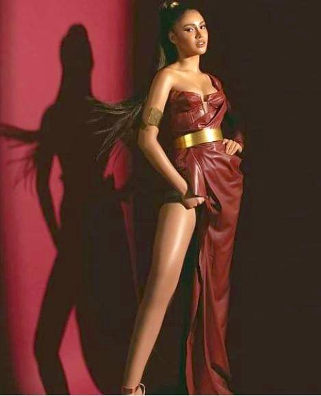 Rabiya Mateo in Athena-inspired leather dress
