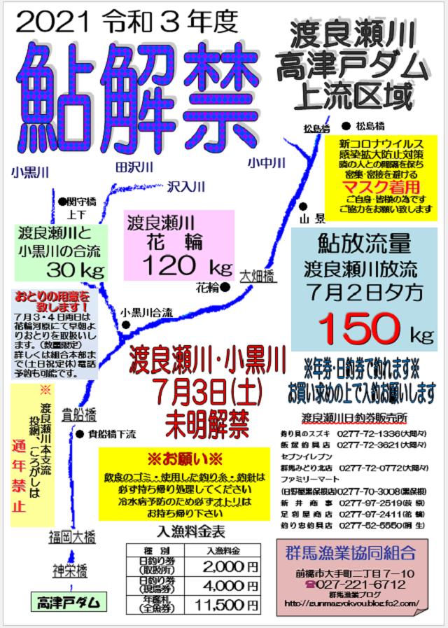 2021渡良瀬川アユ解禁チラシ