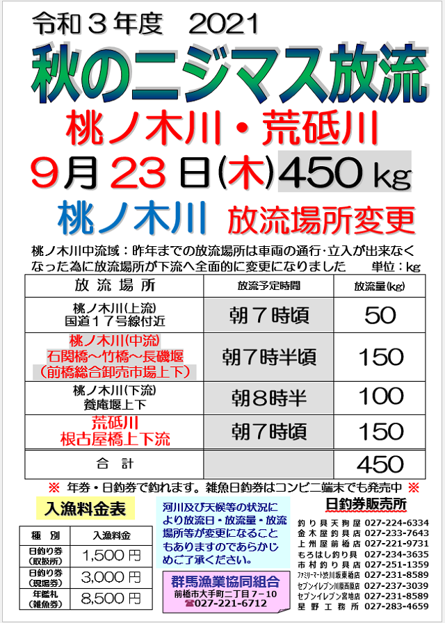 2021秋ニジマス桃ノ木荒砥