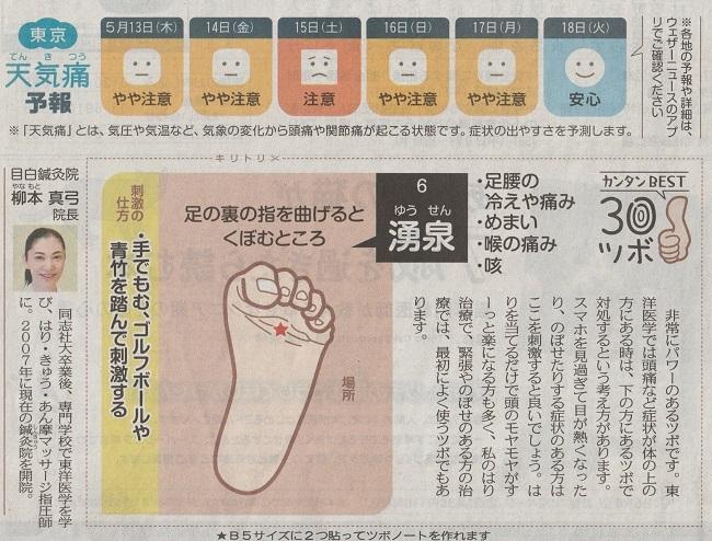 東京新聞 簡単ベストツボ30 パワフルなツボ 湧泉