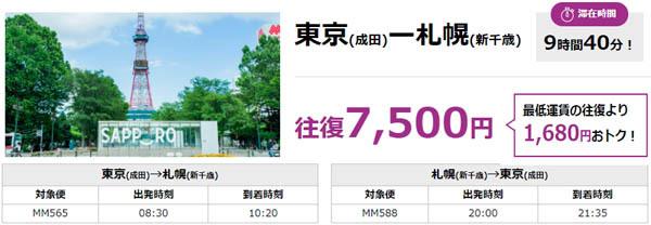 ピーチの「平日弾丸!0泊の旅」なら、大阪(関西)~東京(成田)往復6,500円で、滞在時間も10時間50分なので。