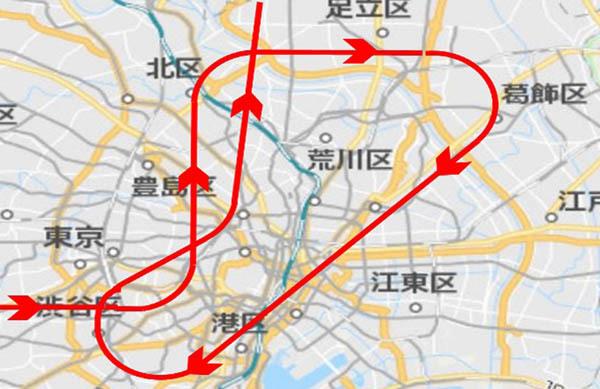 渋谷区から都心に入り、豊島区、北区、足立区、葛飾区、千代田区、港区などを一周。