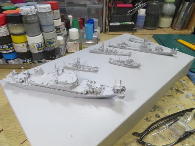1/700  海上自衛隊 掃海艇など レジンキット 紙でコロコロ 進行