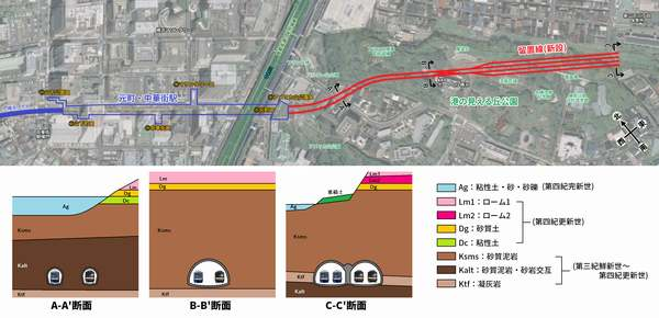 元町・中華街駅留置線の計画位置