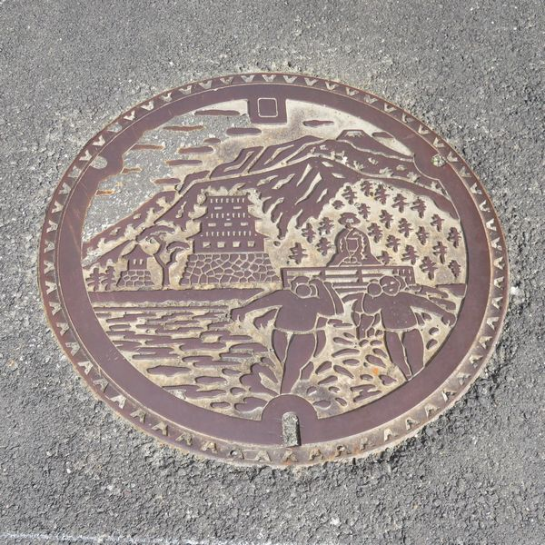 小田原市のマンホール(酒匂川の渡し)