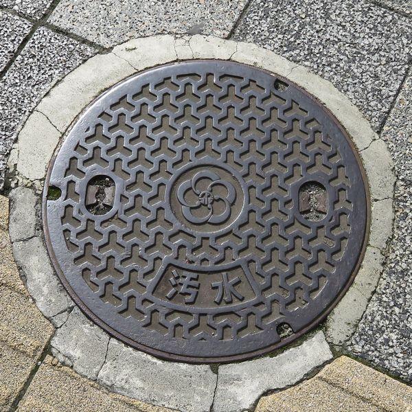 小田原市のマンホール(酒匂川の幾何学模様)