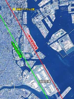 羽田空港と高輪ゲートウェイ駅の位置関係。高輪ゲートウェイ駅はC滑走路のちょうど延長上にある。