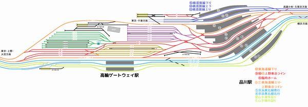 2020年3月以降の品川駅構内配線図